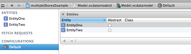 The model editor with the default configuration selected