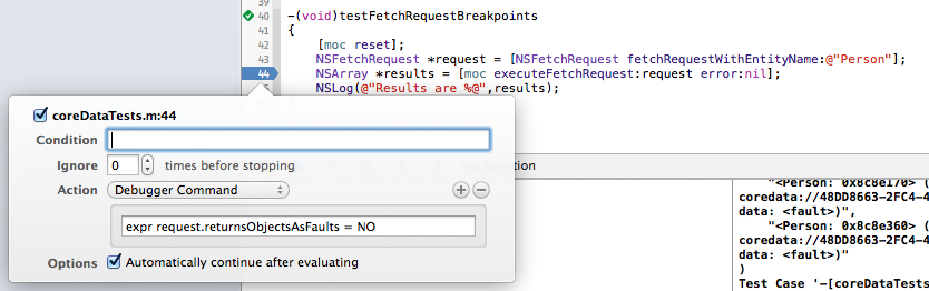 Breakpoint telling a fetch request to return objects as faults